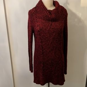 Red Cow Neck Sweater Dress